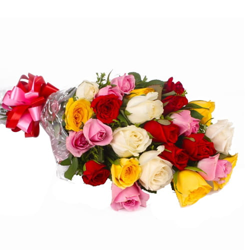 Artistic Love Delight 12 Mixed Roses Arrangement