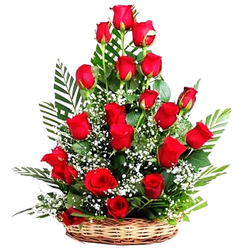Blossoming Rose Basket of 18 Red Roses with Romantic Thrill