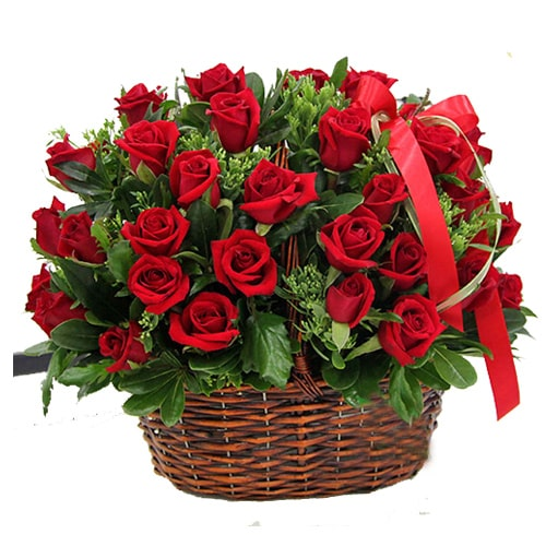 Magnificent Heart of Love 50 Red Roses in a Basket
