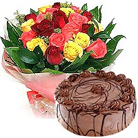 Stimulating Love Around Mixed Roses Arrangement with Chocolate Almond Cake
