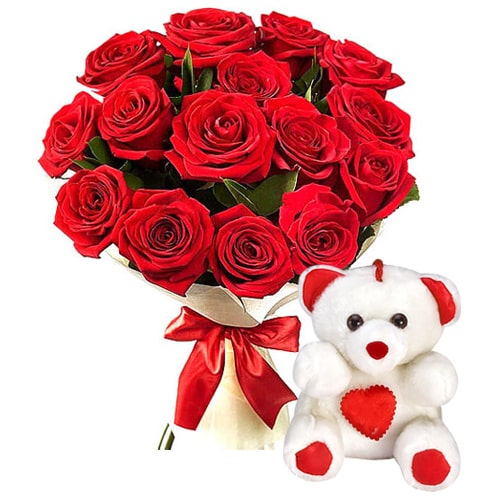 Captivating 12 Gaudy Red Roses and Adorable Teddy Bear