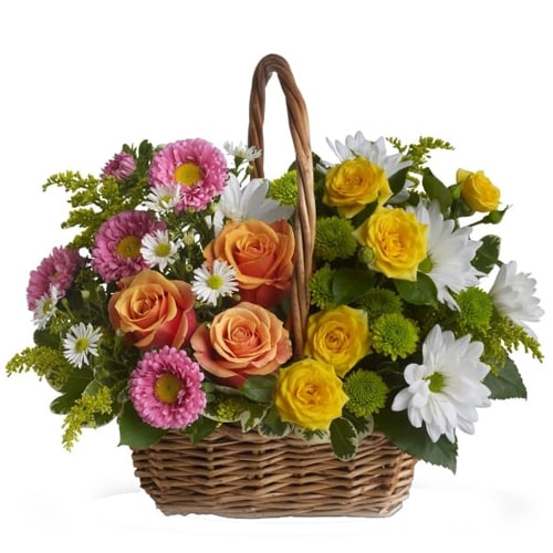Eye-Catching Oblong Mix Basket of Colorful Seasonal Flowers