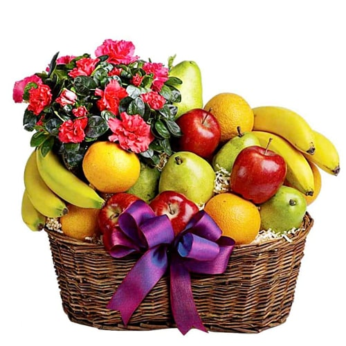Nourishing Heart of Love Mixed Fruits and Fresh Flowers Basket