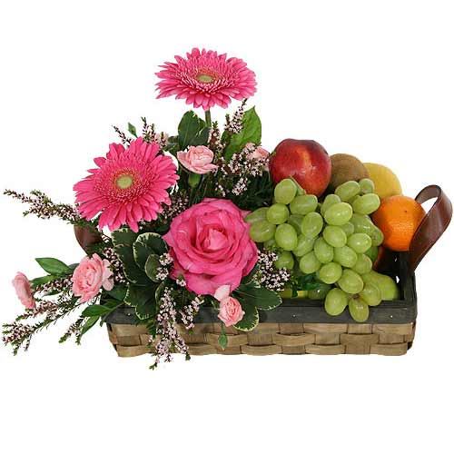 Energetic Healthy Treat Seasonal Flowers and Fresh Fruits Basket