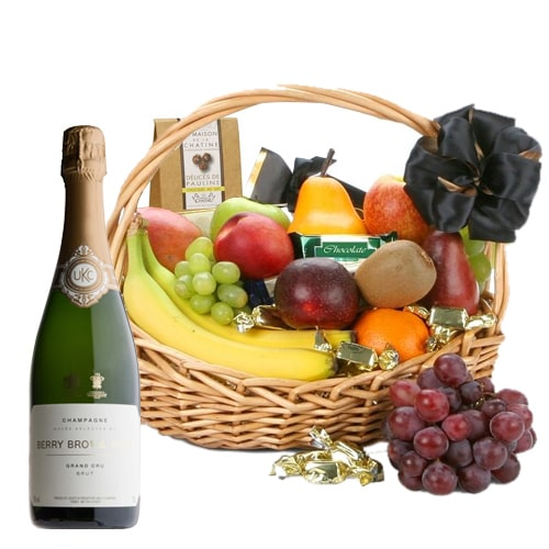 Healthy Fresh Fruits and Drinks Basket for Sweet Celebration