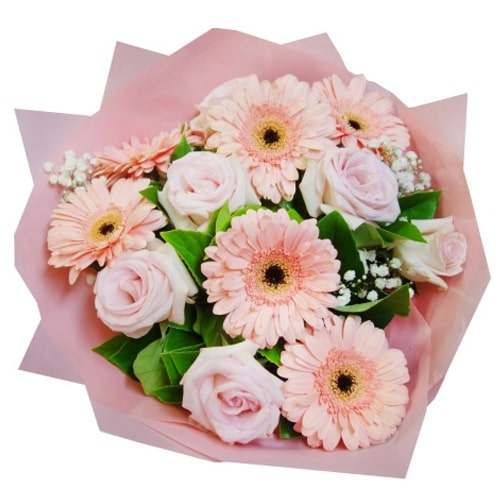 Classic Pink Roses and Fantastic Gerberas Arrangement