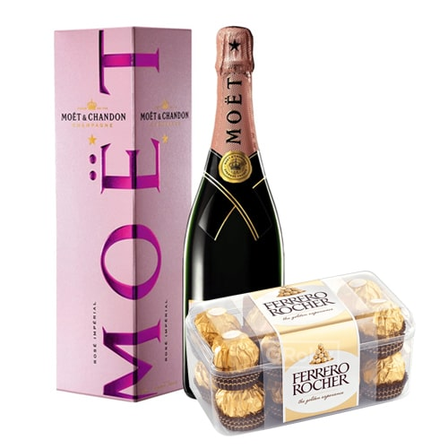 Exotic Fun Time Moet Chandon Champagne(0.75 Lt.) and Chocolates