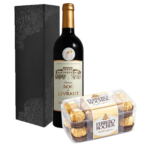 Voluptuous French Wine and Tasty 16 Pcs Ferrero Rocher Chocolates