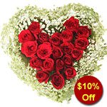 Magical Tender Love One Dozen Heart Shaped Red Roses Arrangement