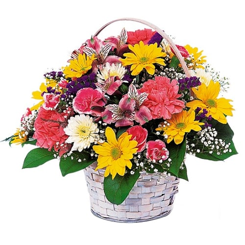 Classic Colorful Fresh Flowers in a Basket