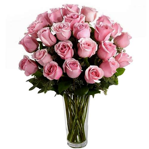 Eye-Catching Celebrate the Moments 24 Pink Roses in a Vase