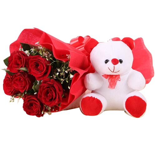 Treasured Love Delight 6 Red Roses with Teddy Bear