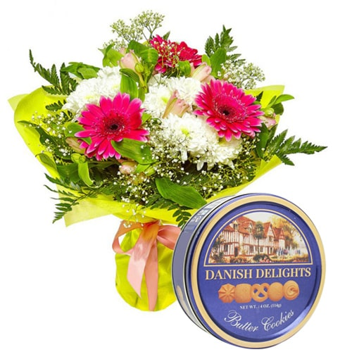 Gorgeous Celebration Special Mixed Flowers with Danish Cookies