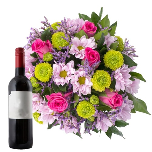 Charming Mixed Flower Bouquet with French Wine Bottle