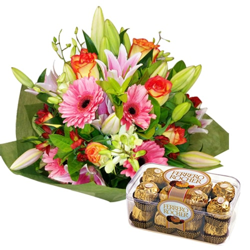 Blossoming Flower Bouquet with Chocolates