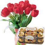 Red Tulips with Ferrero Rocher<br> <font color=0000ff>(Out Of Stock)</font>