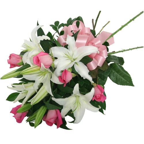 Premium Love Surprises Pink Roses and Star-Shaped White Lilies