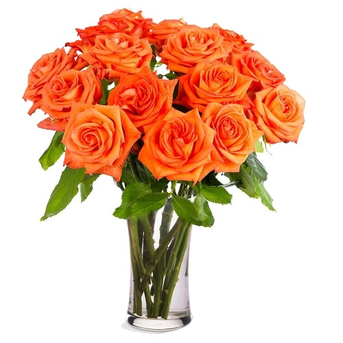 Mesmerizing Bouquet of 12 Orange Roses
