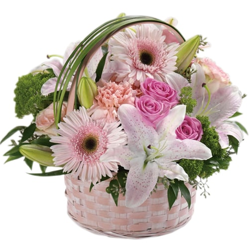 Treasured Feel of Love Pink Flowers Arrangement in a Basket