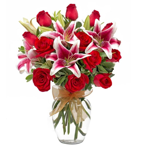 Elegant Luminous 3 Pink Lilies and 5 Red Roses Bouquet with Vase