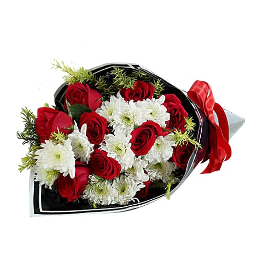 Artistic 6 Red Roses with White Daisies