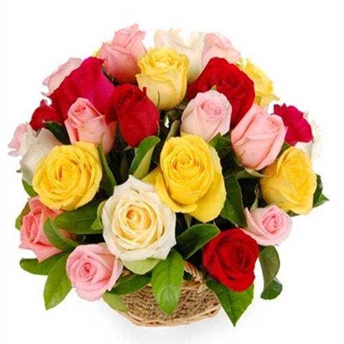 Eye-Catching Moments in Love Gift Basket of 12 Mixed Roses