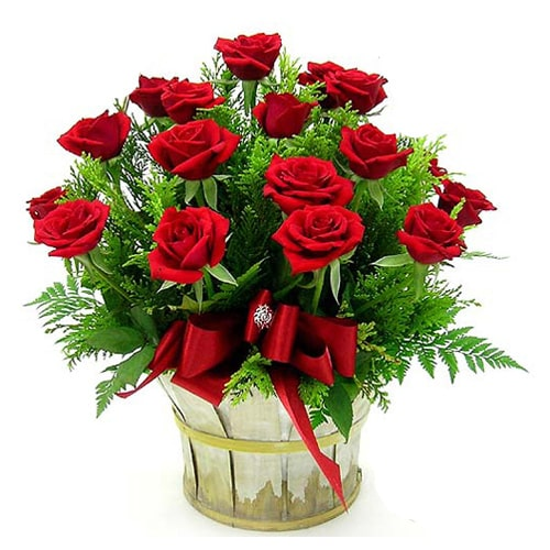 Gorgeous Seasons of Love 18 Red Roses Basket