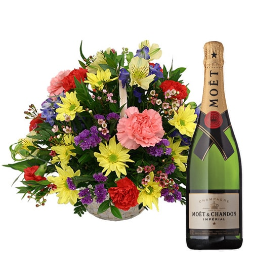Classic Fresh Seasonal Flowers and a Bottle of Champagne