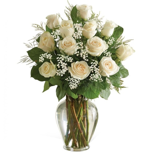 Breathtaking 12 White Roses in a Vase with Passion
